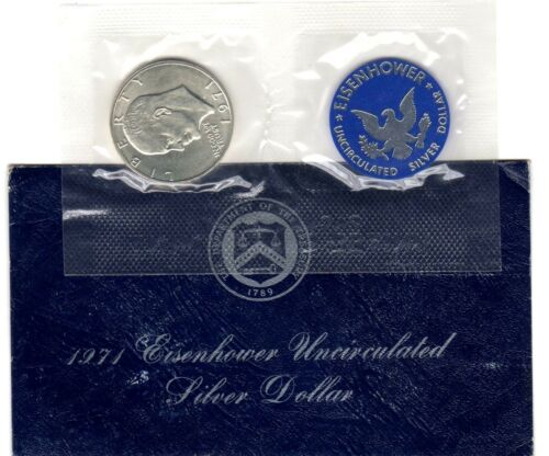 1971 S 40/% SILVER EISENHOWER IKE DOLLAR IN ORIGINAL BLUE ENVELOPE **ESTATE