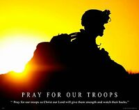 Religious Military Poster Print Art Army Marines Pray For Our Troops Milt43