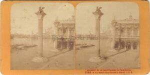 Venezia Piazzetta Italia Stereo Jean Andrieu Parigi Albumina Ca 1870