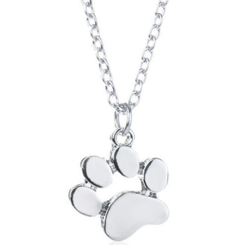 Fashion Necklace Dog Paw Heart Pendant Chain Jewellery Puppy Pet Love Charm Gift