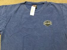 "Harley Davidson embroidered bar and shield Blue ""ribbed"" Shirt Nwt Men's Large"
