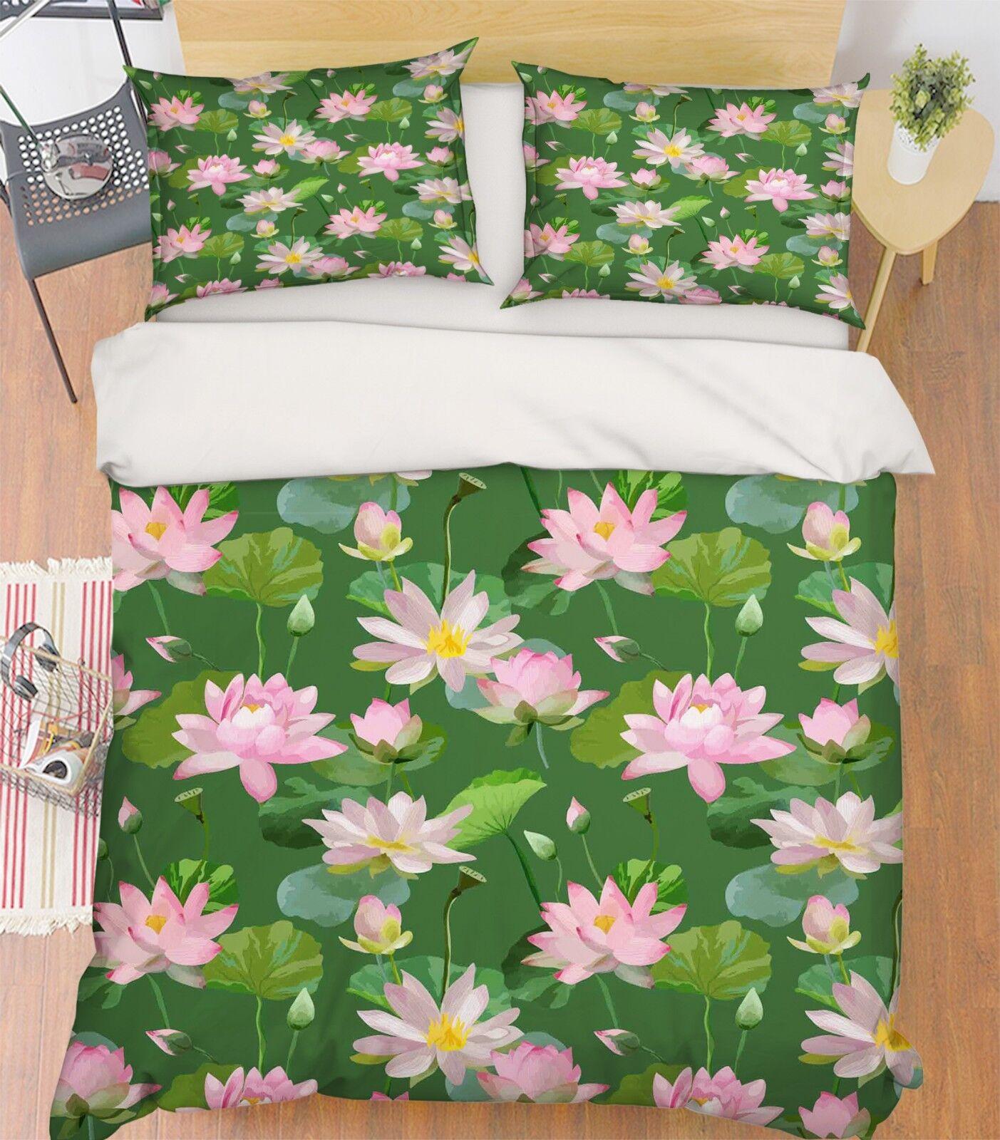 3D Pond Lotus 4666 Bed Pillowcases Quilt Duvet Cover Set Single King UK Summer