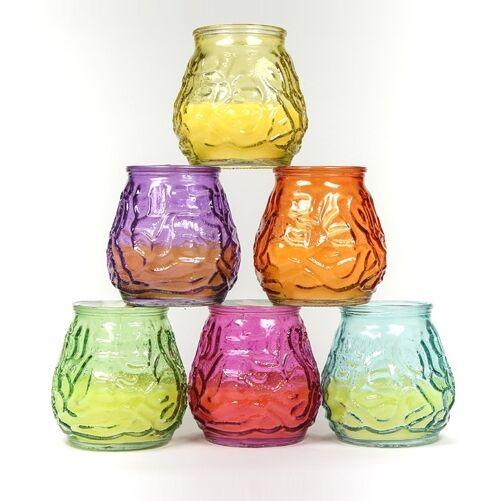 12x bauchigem Anti-Insectes Citronella bougie dans décorative, bauchigem 12x verre contre moustiques c0db36