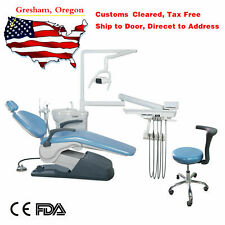 Tuojian Dental Unit Chair Computer Controlled Hard Leather With Stools Skyblue Ce