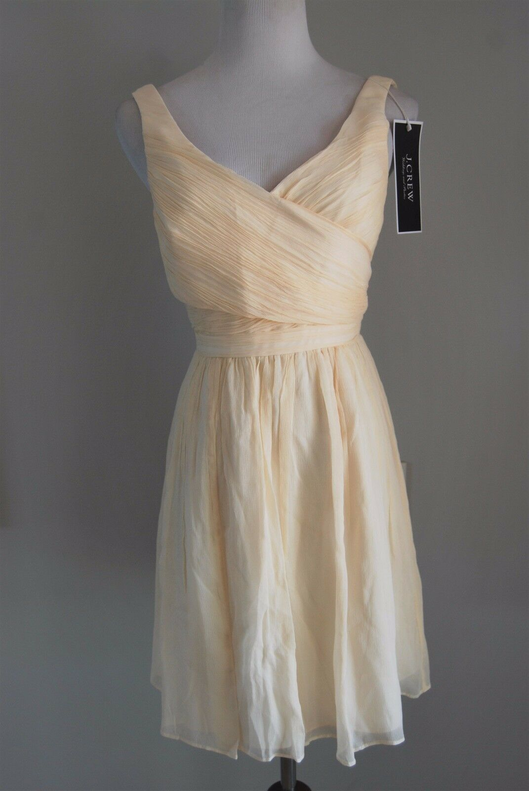 228 NEW J CREW Champagne Sleeveless pleated top HEIDI DRESS Bridesmaid Size 2P