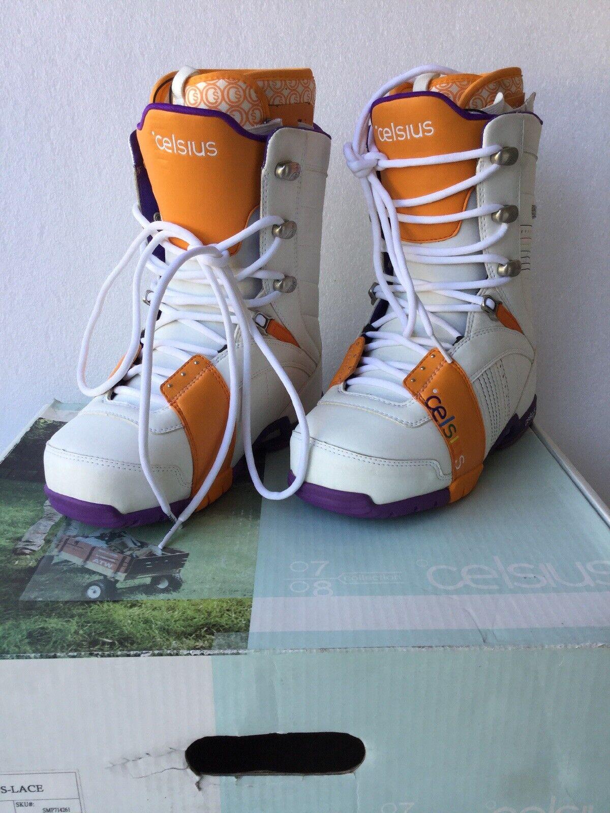 Celsius Cirrus Snowboard Stiefel Rainbow Farbeway Orange Weiß Größe 8.5 Snow Board