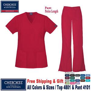 Cherokee-Ropa-Quirurgica-Set-Original-Mujer-Imitacion-Tiras-Top-amp-Pantalones