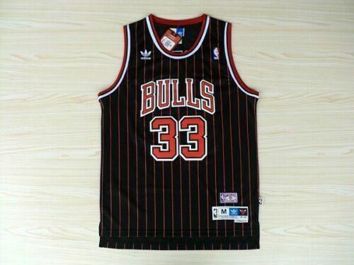 Men/'s Scottie Pippen Chicago Bulls #33 Black Stripes Throwback Swingman Jersey