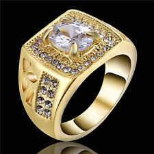Size 9 Fashion White Sapphire Yellow 18K Gold Filled Wedding Jewelry Ring