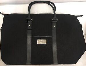 New Mens Chrome Azzaro Perfumes TRAVEL BAG WEEKENDER Black Leather ... 2e99e5cf4c560