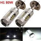 2X H1 80W CREE Super Bright LED White Fog Tail Turn DRL Head Car Light Lamp Bulb