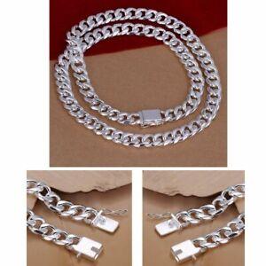 925-Collar-de-Plata-de-ley-115g-cadena-solida-de-hombres-24-034-60-cm-10-mm-Plata
