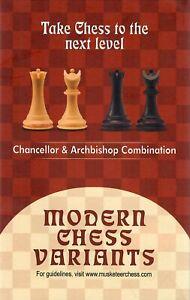 Musketeer Chess Variant Kit - Chancellor & Archbishop - Black & Natural