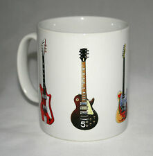 Electric Guitar Mug. 5 Famous rock guitars on 1 mug.