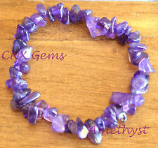 Tumbled Gemstone Natural Crystal Amethyst Chip Stone Hand Made Strechy Bracelet