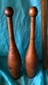2- Antique Primitive Indian Wood Juggling Pins 16 Inches Long