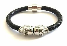 """Twin Skull Leather Bracelet With Magnet Lock North Skull Inspired Size Small 7"""""""