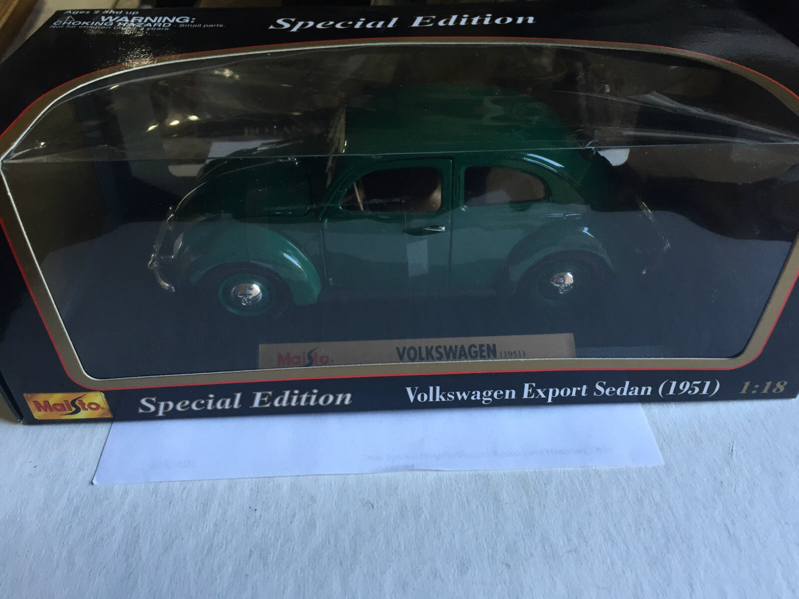 Maisto Special Edition 1951 Volkswagon Export Sedan, 1 18 Scale, NEW in PKG