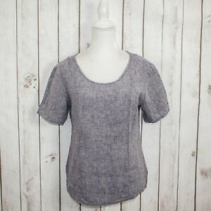 FLAX-by-jeanne-engelhart-Women-039-s-100-Linen-Short-Sleeve-Blouse-Blue-sz-P-Small