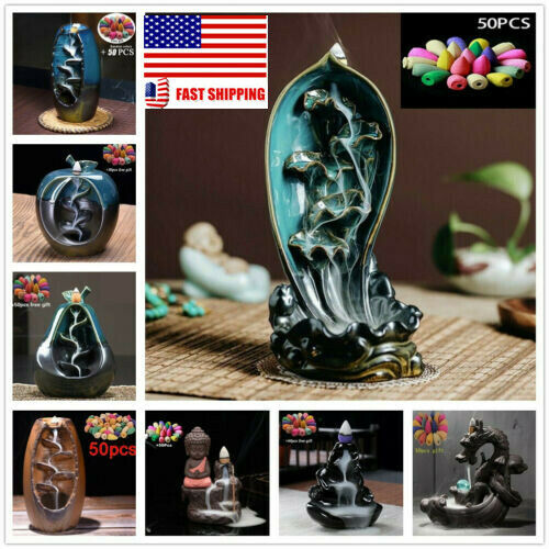 Zisha Waterfall Incense Burner Mountain River Crafts Ceramic Crafts Zen