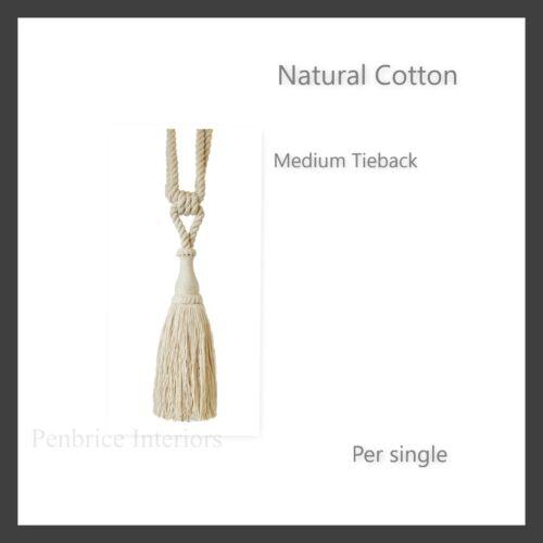 1 cortina Tieback cuerda de algodón natural Clave Borla por cada tie-Back lazo a la espalda