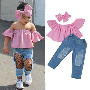 a52e433a9eb2 3PCS Kids Toddler Baby Girl Off Shoulder Shirt Tops+Jeans Pants+ ...