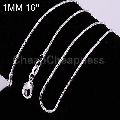 wholesale Silver Plated lots 1pcs 1mm snake chain Necklace 16-24inch Newest