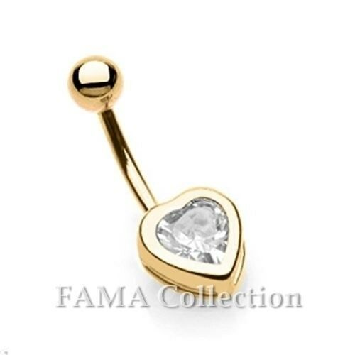 FAMA 14kt Gold Plated Surgical Steel Heart with Clear CZ Navel Belly Ring