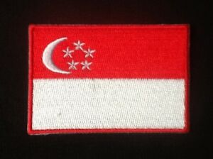 SINGAPORE SINGAPOREAN NATIONAL COUNTRY FLAG BADGE IRON SEW ON PATCH CREST