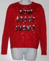 Divided H&m Ladies Long Sleeve Bling Sequin how About Snow? Holiday Sweater M