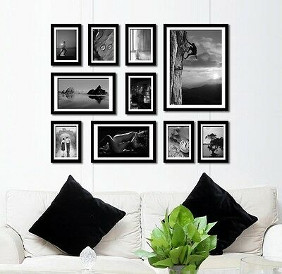 SG03 beautiful Handcrafted Wooden 10 pcs photo picture frame set wall mounted
