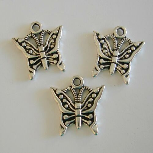 10pcs-Butterfly Charm Antique Silver Color.