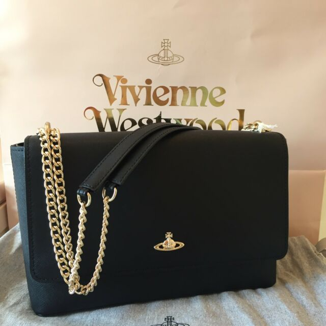 306aaa555 Vivienne Westwood Saffiano Leather Flap Bag Shoulder/Crossbody Handbag -  Black for sale
