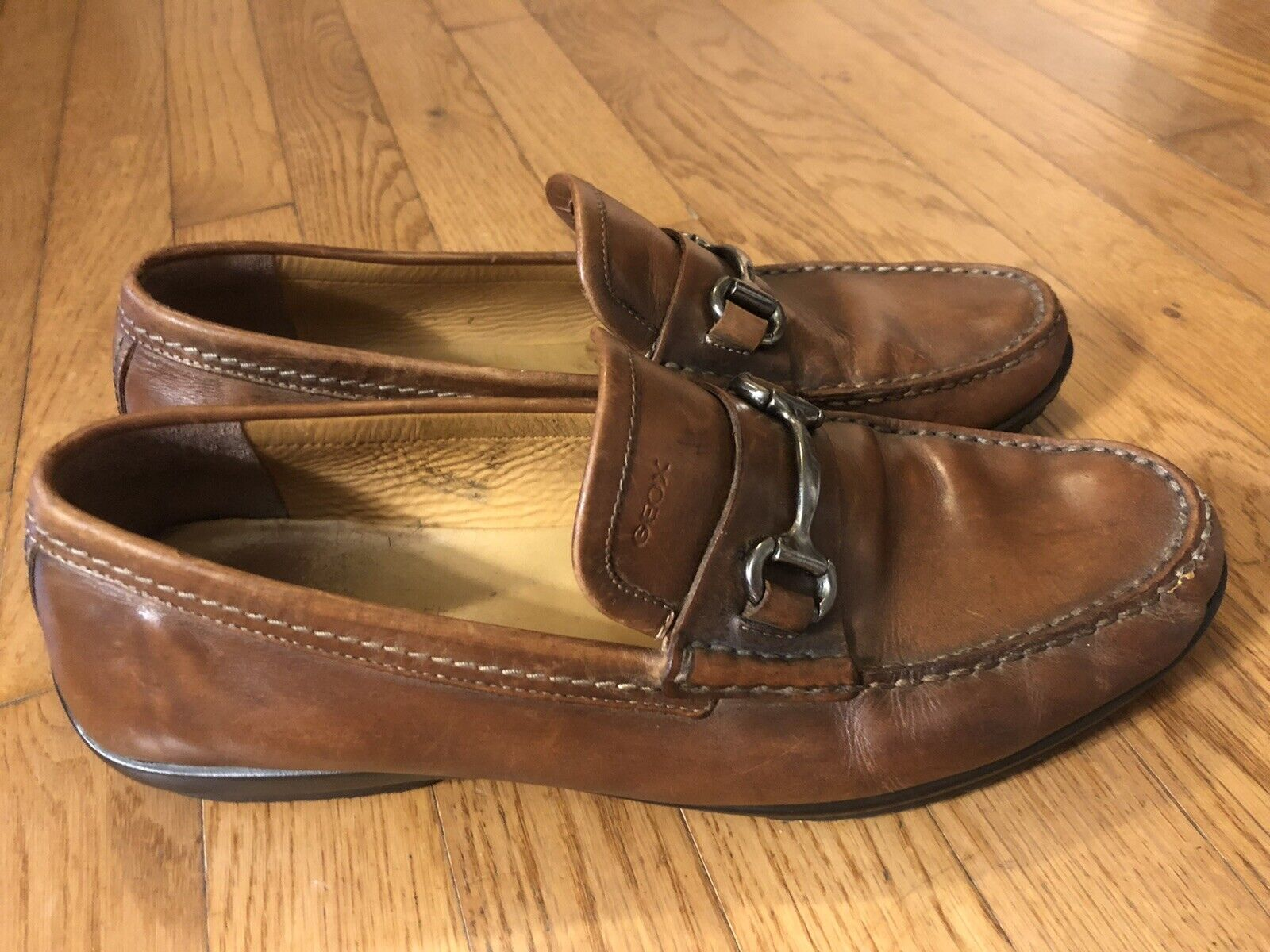 Geox Men's Driving Loafers Brown Leather Size 44 US 10.5 Slip On Classic