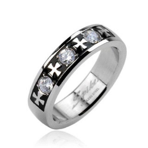 FL54 Stainless-Steel-Ring-Black-Celtic-Cross-Gem-Size-9-10-11-12-13-14-f