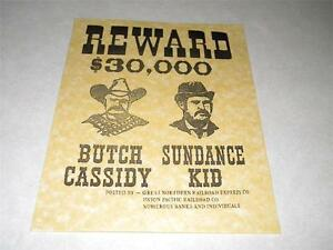 BUTCH CASSIDY & SUNDANCE KID WANTED POSTER EXACT ...