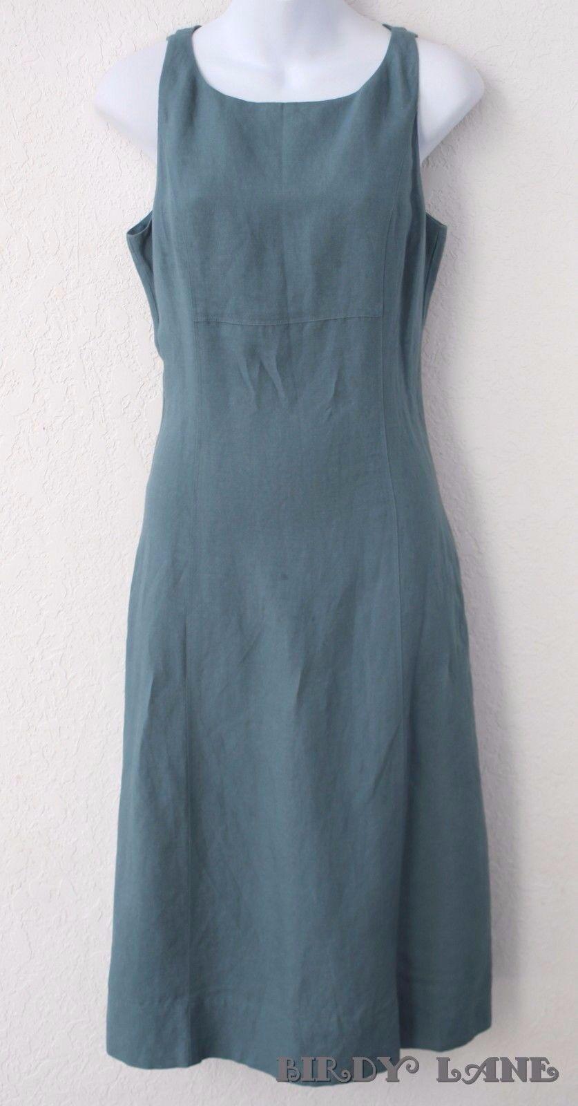 NYC Sleeveless A-Line SunDress Teal Blue Linen Rayon Blend Below Knee Womens 4