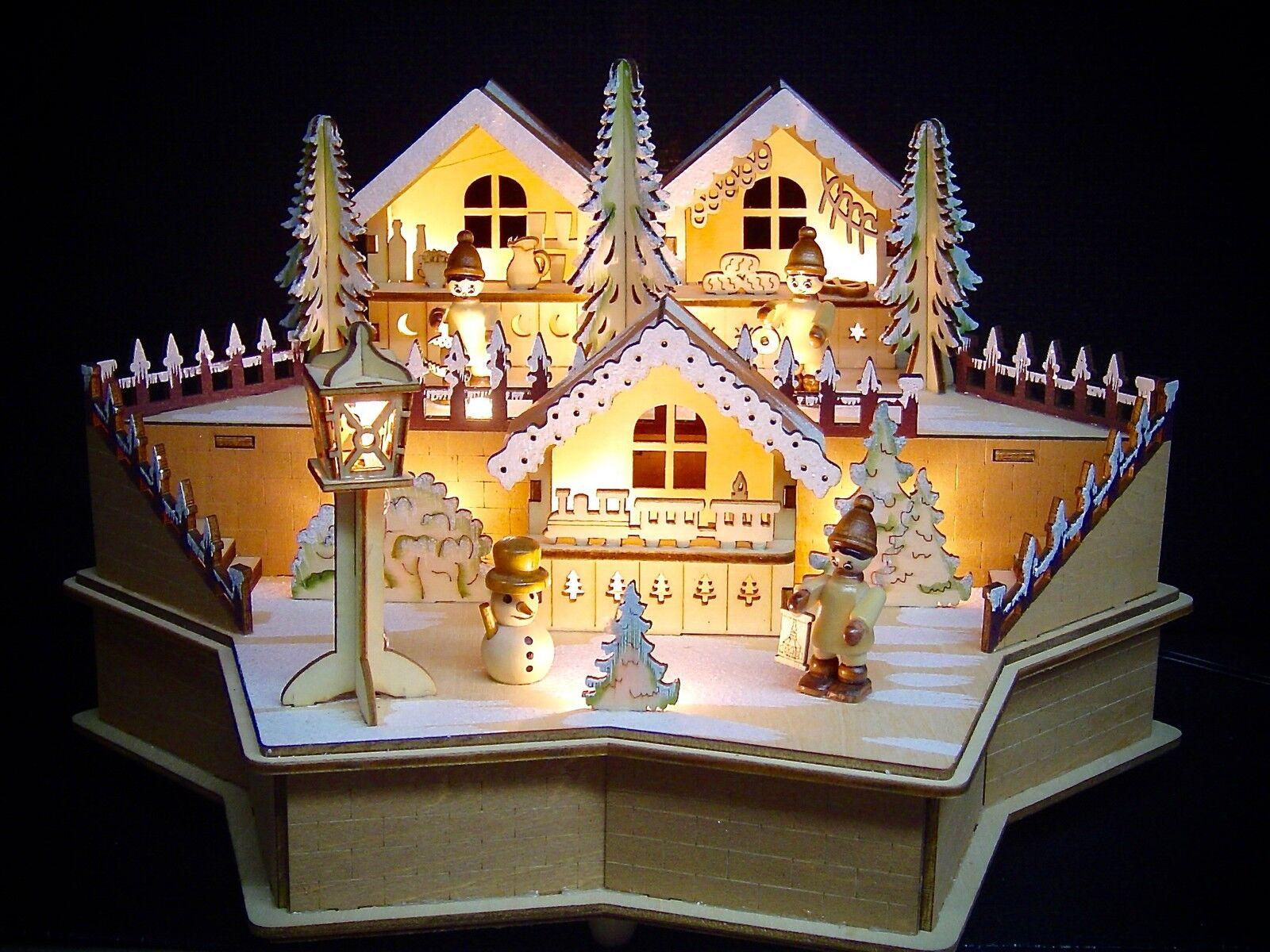 LED LED LED Tischdeko Schwibbogen Lichterbogen Szene Sternform mit Winterfiguren 10256 45b88e