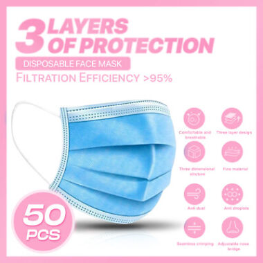 50-Pack 3-PLY Layer Non-Woven Disposable Face Mask