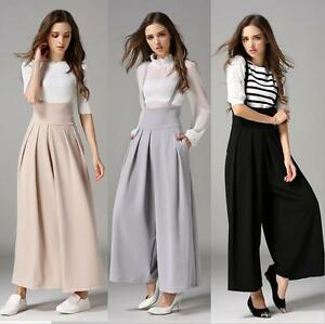 d474d6a25cc4 Women Wide Leg Flared Palazzo Dress Trousers High Waisted Cropped ...