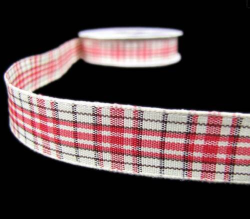 """5 Yds Red Cream Ivory Country Primitive Rustic Dble Faced Plaid Ribbon 5//8/""""W"""
