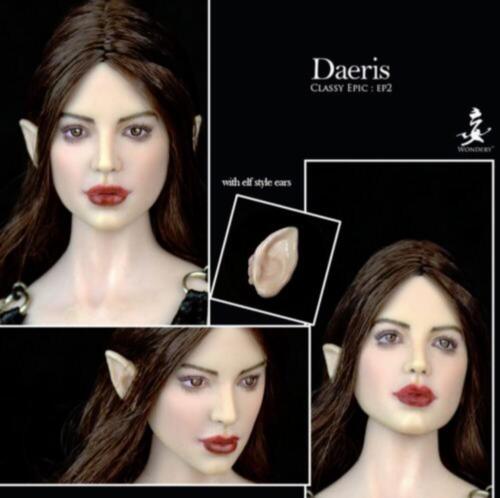 1//6 daeris GIRL HEAD SCULPT Marron Boucles Cheveux amovible oreilles pour bronzage PHICEN