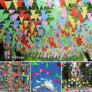 240M-colore-Guirlande-fanions-drapeaux-TRIANGLE-Decor-pour-fete-T