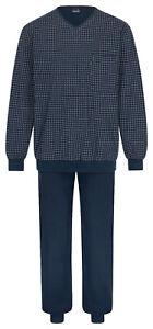 Details zu AMMANN Herren Marken Pyjama Schlafanzug lang Bündchen dunkelblau Gr. 52