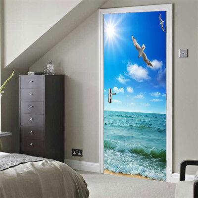 Blesiya 3D PVC Sticky Door Wall Sticker Bathroom Natural Landscape Mural