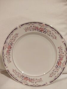Set 4 China Pearl Donna Pattern Dinner Plates Fine Dinnerware Mauve Floral AA65