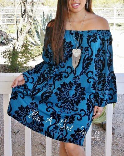 PLUS SIZE OFF ON SHOULDER TEAL BLUE BLACK DAMASK IKAT DRESS TUNIC USA 1X 2X 3X