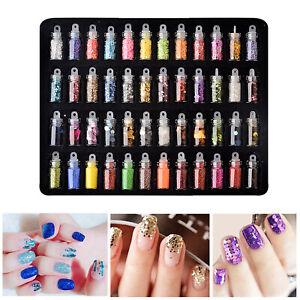 48-Bottles-Nail-Art-Decoration-Set-Glitter-Sequins-Dot-Hexagon-Caviar-Flake-Kit