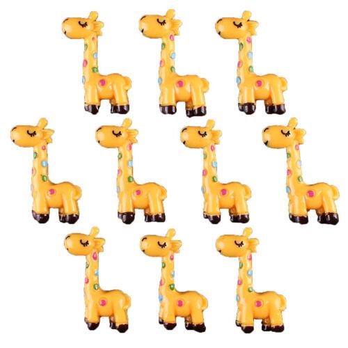 Bulk 10 pcs Cute Yellow Giraffe Resin Flatbacks Scrapbooking Hair Bow Crafts