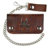 6 Men's Antiqued Brown Leather Wallet With Chain Skull And Crossbones Design